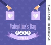 flat style valentines day sale... | Shutterstock .eps vector #569944948