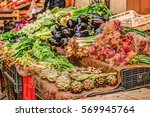 fresh vegetables at a market in ... | Shutterstock . vector #569945764