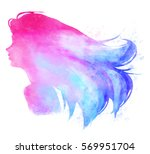 watercolor woman pink and blue... | Shutterstock . vector #569951704
