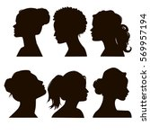 Women's elegant silhouettes with different hairstyles. Beautiful female face in profile. EPS8 | Shutterstock vector #569957194