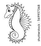 black line sea horse on the... | Shutterstock .eps vector #569957368