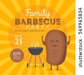 family bbq party invitation... | Shutterstock .eps vector #569965834