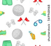 game of golf pattern. cartoon... | Shutterstock .eps vector #569968468