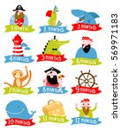 pirate vector set of stickers... | Shutterstock .eps vector #569971183