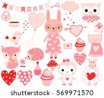 cute love set of valentine... | Shutterstock .eps vector #569971570