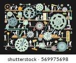 sketch of people teamwork ... | Shutterstock .eps vector #569975698