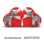 Red Gift Boxes In Heart Shape...