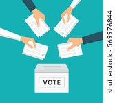 people vote at election | Shutterstock .eps vector #569976844