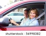 smiling happy elderly couple in ... | Shutterstock . vector #56998382