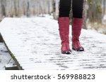 woman walking in winter day. ... | Shutterstock . vector #569988823