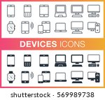 set of outline and flat devices ... | Shutterstock .eps vector #569989738