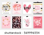 collection of pink  black ... | Shutterstock .eps vector #569996554