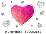 pink  yellow heart isolated on... | Shutterstock .eps vector #570003868