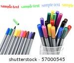 colorful pens in a container on ... | Shutterstock . vector #57000545