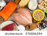 healthy food rich of proteins | Shutterstock . vector #570006394