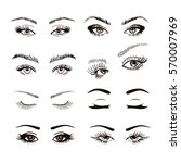 set of different female eyes...   Shutterstock .eps vector #570007969