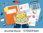 hands with money and folder... | Shutterstock .eps vector #570009364