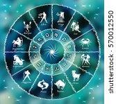 blue neon horoscope circle