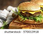 cheeseburger with mushroom... | Shutterstock . vector #570013918