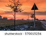 Street in Germany at Sunset on a Winter Day, Apensen, Lower Saxony, Buxtehude, Germany. 1