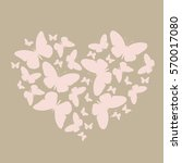 Stock vector elegant icon much pink butterflies in a heart shape pattern for greeting or invitation to a 570017080