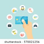 blue credit card in hand   flat ... | Shutterstock .eps vector #570021256