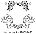 oval label with outline roses...   Shutterstock .eps vector #570031453