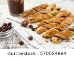 homemade cakes   puff pastry...   Shutterstock . vector #570034864
