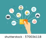 golden credit card in hand flat ... | Shutterstock .eps vector #570036118