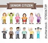 set of old people. senior man... | Shutterstock .eps vector #570036739