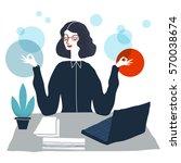 business woman meditating.... | Shutterstock .eps vector #570038674