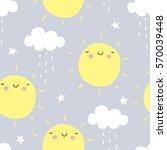 seamless sun and rain pattern... | Shutterstock .eps vector #570039448