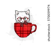 Stock vector cute kitten in a cup vector illustration 570059974