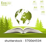 globe on opened book. green... | Shutterstock .eps vector #570064534