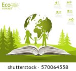globe on opened book. green... | Shutterstock .eps vector #570064558