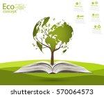 globe on opened book. green... | Shutterstock .eps vector #570064573