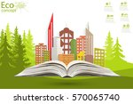 paper city on the open book.... | Shutterstock .eps vector #570065740