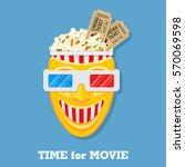 cinema and movie time concept... | Shutterstock .eps vector #570069598
