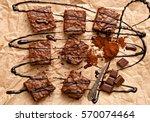 chocolate brownies on baking... | Shutterstock . vector #570074464