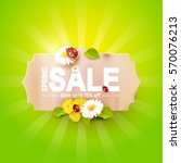 spring sale flyer   paper label ... | Shutterstock .eps vector #570076213