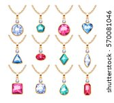 jewelry pendants set. golden... | Shutterstock .eps vector #570081046
