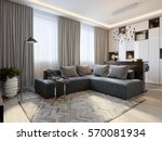 modern living room interior... | Shutterstock . vector #570081934