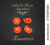 salad and pizza ingredients  ... | Shutterstock . vector #570089380