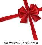 realistic red satin vector gift ... | Shutterstock .eps vector #570089500