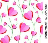 pink heart paper art seamless... | Shutterstock .eps vector #570090580