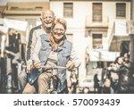happy senior couple having fun... | Shutterstock . vector #570093439