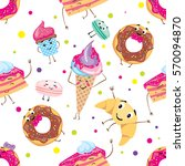 set of cute desserts. donuts ... | Shutterstock .eps vector #570094870