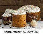 easter cake and easter egg. | Shutterstock . vector #570095203