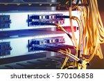 fiber optic in server room... | Shutterstock . vector #570106858