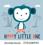 monkey baby print.hand drawn... | Shutterstock .eps vector #570108994